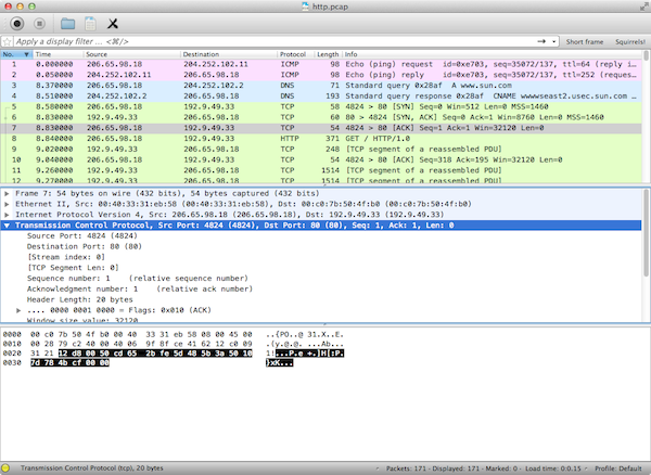Wireshark for Mac OS X screenshot